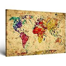 """ge-Bildet® Bild auf Leinwand MIT SOMMER RABATT """"Weltkarte Retro in Vintage Deko"""" Abstrakt - 100x70 cm einteilig XXL - direkt vom Hersteller aus Deutschland - Made in Germany 2202 A"""