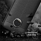 Rapid Zone (Combo Offer Free Tempered Glass) Auto Focus Shock Proof Leather Pattern Armor Soft Back Case / Cover For Motorola Moto G5S Plus - Black