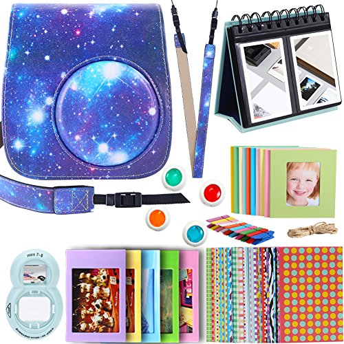 Set Polaroid-kamera-bundle (For Fujifilm Instax mini 9 8 8+ Instant Camera Accessories, Galaxy Starry Sky Mini 8 Case/ 1xCalendarPhoto album/ 4 Colors Filters/ 1x Selfie lens/ Table Frame/ Hanging Frame/ Stickers. By SAIKA)