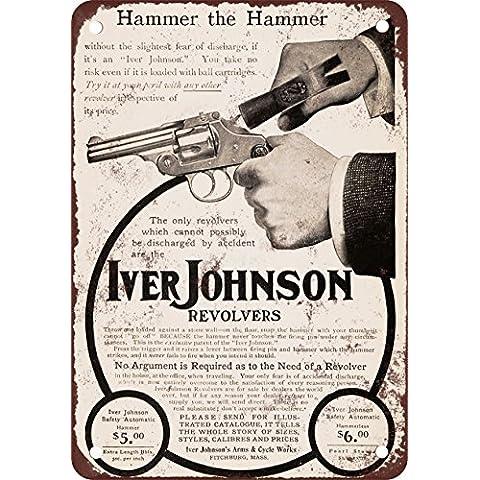 1904Iver Johnson sicurezza Revolver stile vintage Riproduzione in metallo Tin Sign 17,8x
