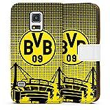 DeinDesign Samsung Galaxy S5 mini Tasche Leder Flip Case Hülle BVB Muster Borussia Dortmund