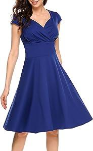 فستان سهرة مطرز بطيات عالية الخصر ورقبة على شكل حرف V وأكمام قصيرة من SE MIU لحفلات التخرج