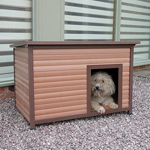 Rosewood 02065 Wetterfeste Flachdach-Hundehütte für kleine Hunde, aus Holz und Kunststoffwerkstoff, mit aufklappbarem Dach - 2
