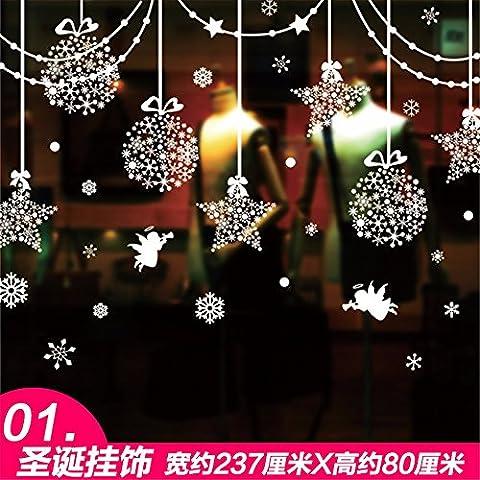 Wall stickers decorazione murale?Natale decorazioni decorationsChristmas glass Window sticker poster ,a,237*50cm