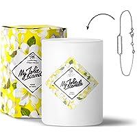 MY JOLIE CANDLE - Bougie parfumée avec Bijou Suprise à l'intérieur - Bijou : Bracelet en Argent - Parfum : Monoï - Cire Naturelle végétale - 330g - 70h Combustion