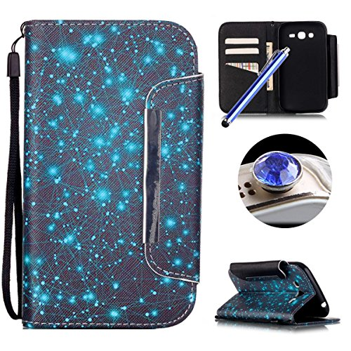 Etsue Custodia in pelle con cinturino per Samsung Galaxy Grand Neo Plus I9060 I9082, moda design bling lucido modello meteora cassa dell'unità di elaborazione del foglio copertina del libro vibrazione del raccoglitore con chiusura magnetica, la funzione e, slot per schede riposare per Samsung Galaxy Grand Neo Plus I9060 I9082+Blu Stylus Pen e scintillio di Bling Diamond Dust Plug colora casuale-Meteora