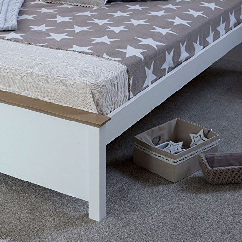 Happy Beds Chester Wooden Bed White and Oak Frame with 4 Underbed Storage Drawers 4'6'' Double 135 x 190 cm