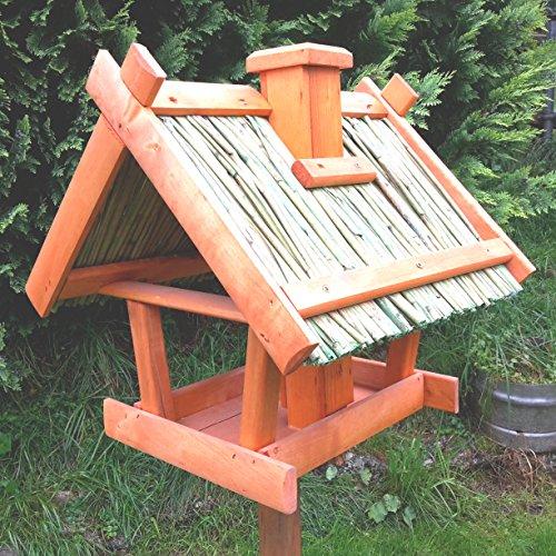 Vogelhaus Schilfdach Reetdach Massivholz Schreinerarbeit Futterhaus Vogelhäuschen --Wetterschutz-- K2