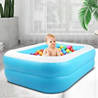 InLoveArts Square inflatable swimming pool toy bathtub swimming pool summer outdoor game garden water spray toy for family children baby adult second ring blue white four sizes (110cm* 88cm * 33cm)