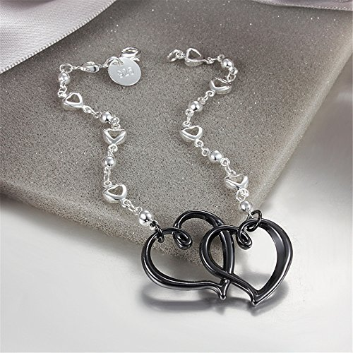 AmberMa Black Eternal Love Double Heart Charm Pendant Bracelet Anklet Sterling Silver plated Fashion Women Girls aHrMKgO