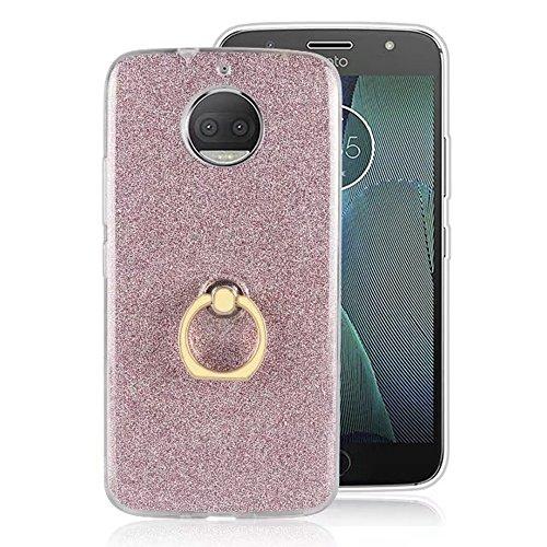 Soft Flexible TPU Back Cover Case Shockproof Schutzhülle mit Bling Glitter Sparkles und Kickstand für MOTO G5s Plus ( Color : White ) Pink