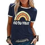 worclub Motif Arc-en-Ciel Good Vibes T-Shirts imprimés Femmes Mode imprimé col Rond T-Shirts Manches Courtes