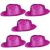 Cooler Hut Cowboyhut Zylinder Tänzer Disco Partyhut Disco Fasching Karneval Glitzer Glitzerstaub - Pink 5 er Set