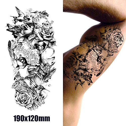temporare-korperkunst-entfernbare-tattoo-aufkleber-birds-and-roses-mc2753-sticker-tattoo-temporary-t
