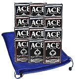 Ace Casino Deluxe 100% plástico Naipes Paquete de 12Cubiertas (6Rojo, 6Azul Backing) Bono Nailon Malla Azul Bolsa de Transporte Incluye artículos