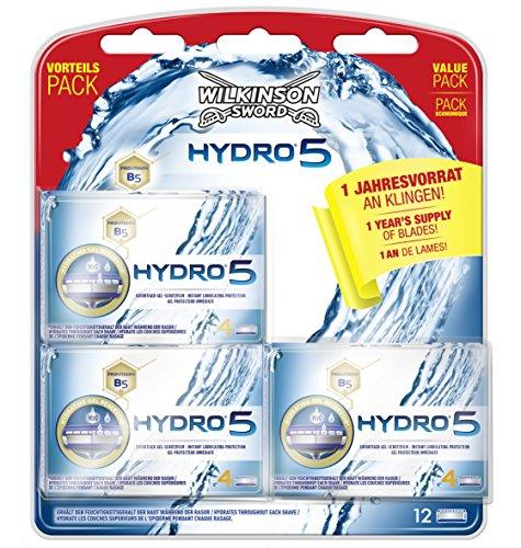 Wilkinson Sword Hydro 5 Jahresvorratspack, 12 Rasierklingen (Vitamin Pflegendes)