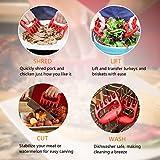BBQ Grill Werkzeugset Grillbesteck Set Grillzubehör Grillhandschuhe Hitzebeständig bis 500°C,Grillthermometer Fleischthermometer Digitale,Grillmatten,Fleisch Krallen,Silikonwürzbürste - 3
