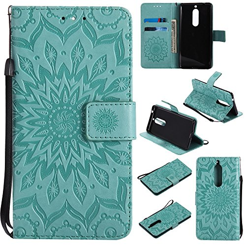 Embossing Sonnenblumenmuster horizontale Flip Stand Case Wallet Pouch Cover mit Lanyard für Nokia 5 ( Color : Gray ) Green
