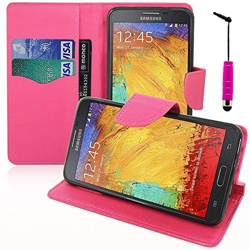 VComp-Shop VCOMP - Portafoglio in plastica con scomparti per carte di credito e supporto video per Samsung Galaxy Note 3 Neo SM-N7505