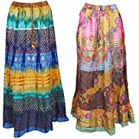 2 Pc Womens Long Maxi Skirt Printed Flared Boho Gypsy Chic Tie Dye Skirts L