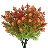 MIHOUNION 4pcs Arbuste Artificiel buissons Plante Artificielle Exterieur Fausse Plante Orange Fleurs Artificielles Plastique Décoration pour Jardin Maison Bureau Cuisine
