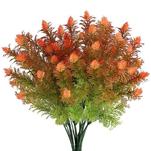 Mihounion fiori finti da esterno cespuglio artificiali arbusti piante finte fiori di plastica bouquet fiori finti per decorazioni vaso balcone verdi& rosso 4pz
