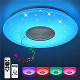 JDONG Bluetooth plafondlamp 24W Ø 40CM LED plafondlamp met luidspreker, afstandsbediening en app-bediening, RGB kleurverander