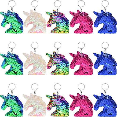 15 Piezas de Llavero de Unicornio de Lentejuelas de Flp Colorido para Bolso de Mano Bolsa Adornos de Fiesta, 5 Colores