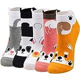 ZFSOCK Calzini Donna Cotone Fantasia Calze Divertenti Colorate Tema degli Animali Gatto Cani Cibo Modello Calze Termici Comod