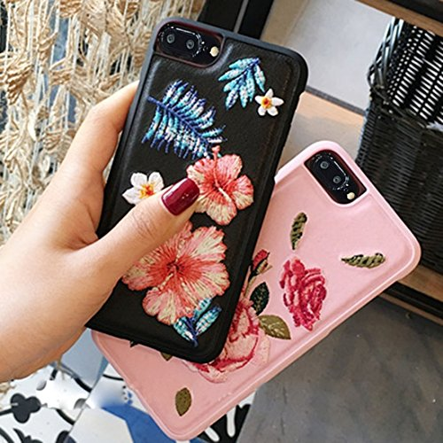 Hülle für iPhone 7 plus , Schutzhülle Für iPhone 7 Plus, Stickerei Blumen PU Leder Schutzmaßnahmen Rückseite Cover Hard Case ,hülle für iPhone 7 plus , case for iphone 7 plus ( Color : Pink ) Black