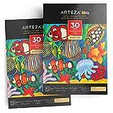 ARTEZA Album da Disegno Bambini Acquerello A4 (21 cm x 29.7 cm), Set da 2 Blocchi, 30 Fogli Ognuno, 200 GSM, Perfetti per Acquerello e Tecniche Miste
