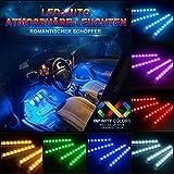 Auto Atmosphäre Licht, Agedate Innenbeleuchtung Auto 4×12 Lichtleiste Mehrfarbliche LED Streifen Leuchte Innenraumbeleuchtung Auto Lichtleiste mit Fernbedienung und KFZ Ladegerät DC 12V