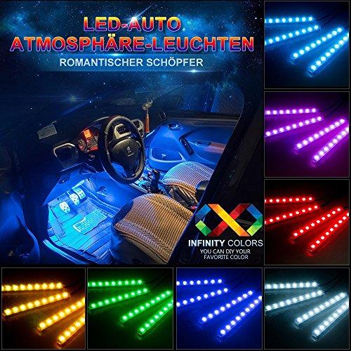Preisvergleich Produktbild Auto Atmosphäre Licht,  Agedate Innenbeleuchtung Auto 4×12 Lichtleiste Mehrfarbliche LED Streifen Leuchte Innenraumbeleuchtung Auto Lichtleiste mit Fernbedienung und KFZ Ladegerät DC 12V