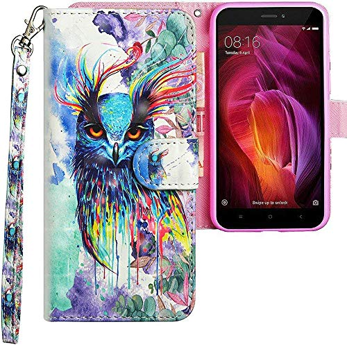 CLM-Tech kompatibel mit Xiaomi Redmi Note 4 Hülle, Tasche aus Kunstleder, Eule bunt, PU Leder-Tasche für Xiaomi Redmi Note 4 / Note 4X Lederhülle
