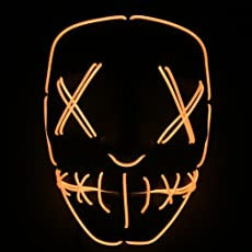 Coxeer LED Party Mask Halloween Mask Creative Light up Mask Prop