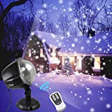 GESIMEI Led Snow Light Projector Outdoor Indoor Christmas Lights with Remote Control White Snowflake Rotating Spotlight Waterproof Decorative Garden Lights for Wedding Holiday Party Decorations