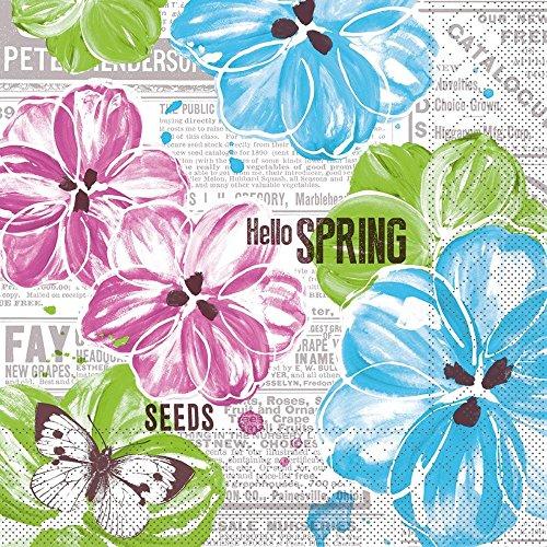 Sovie HORECA Tissue Serviette Hello Spring   Ideal für Ihre Frühlingsparty   Pink-Türkis   33x33cm   100 Stück