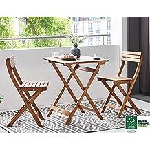 SAM® Conjunto para jardín o balcón, mueble de madera de acacia, 3 piezas, 1 mesa + 2 sillas plegables aceitadas, certificadas FSC® 100%.