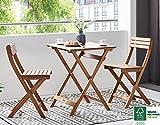 SAM Garten-Sitzgruppe 3tlg. Akazienholz geölt, FSC® 100% zertifiziert, 1x Tisch + 2x Stuhl, klappbar