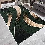 Carpeto Designer Teppich mit Modern Wellen Meliert in Grün Dunkelgrün- ÖKO Tex (180 x 250 cm)