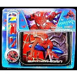 Reloj Spiderman Y Cartera Juego Para Niños