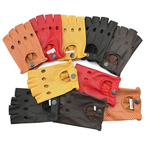 Prime Leather Brand Vintage Retro Stil Fingerlose Leder Mode Fahren Kreis Handschuhe 317-317-yellow, XL - Rot Leder Fingerlose Handschuhe