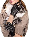 YISEVEN Damen Winter Leder Handschuhe Touch Screen Winterhandschuhe Lederhandschuhe aus echtem Schaffell, weich und warm gefüttert