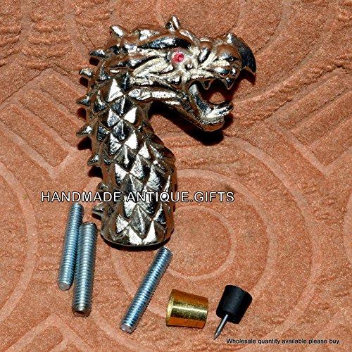 Latón envejecido dragón mango bastón funda Vintage