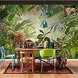 Carta Da Parati 3D Foresta Pluviale Tropicale Foglia Di Banana Tessuto Da Parete Ristorante Salotto Scenografia Decorazione Per La Casa 3D, 200X140Cm (78.74X55.12 In)