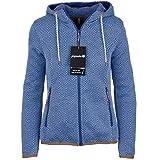 Icepeak Damen Sweatjacke mit Kapuze Fleecejacke Kuschelfleece Jacke Outdoor Strickfleecejacke in blau Weiss schwarz Kiara, Größe:38, Farbe:Blau-Aqua