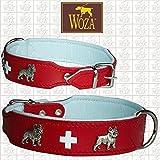 Woza HUNDEHALSBAND Swiss FRANZÖSISCHE Bulldogge Vollleder MIT RINDNAPPA GEBUGGT Collar ОШЕЙНИК ROT/WEIß (3.3/47 (35.5-41CM))
