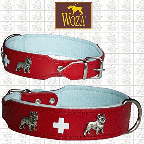 Woza HUNDEHALSBAND Swiss FRANZÖSISCHE Bulldogge Vollleder mit RINDNAPPA GEBUGGT Collar ОШЕЙНИК Rot/Weiß (3.3/52 (40.5-46CM))