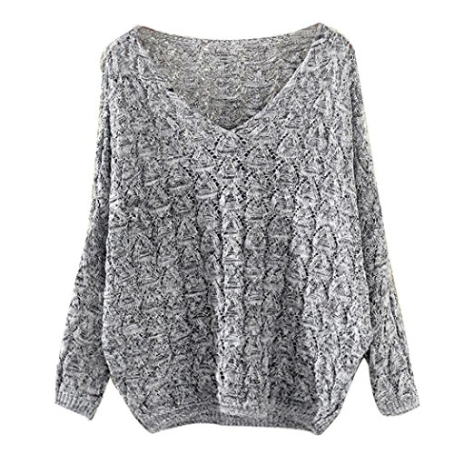 Amlaiworld Sweatshirts Winter Herbst Stricken Pulli Damen Mode locker Freizeit Sweatshirt warm Lang Pullover (One Size, B) - Stricken Nachthemd