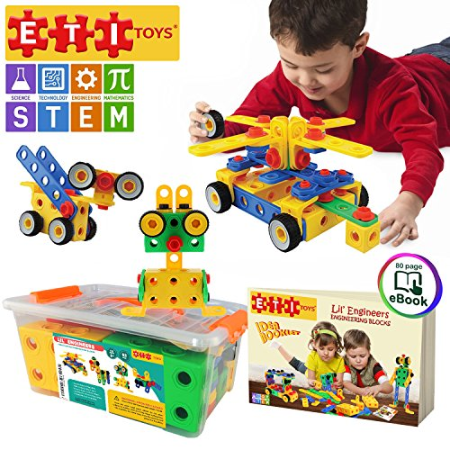 ETI Toys STEM Learning Original 90 Piece Educational Construction Engineering Building Blocks Set for 3 , 4 and 5+ Year Old Boys & Girls Creative Fun Kit Best Toy Gift for Kids Ages 3yr � 6yr